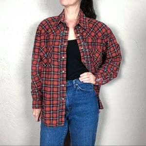 Vintage 1960s Red and Black Plaid Flannel